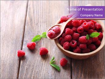 Ripe sweet raspberries PowerPoint Template - Slide 1
