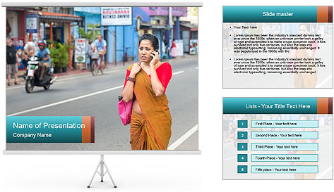 Beautiful woman dressed in sari PowerPoint Template