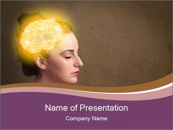 Young girl thinking PowerPoint Template - Slide 1
