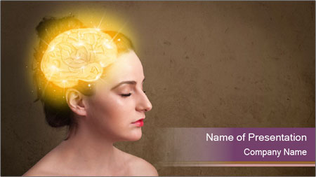 Young girl thinking PowerPoint Template