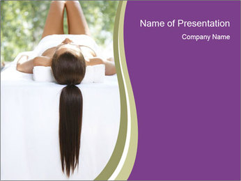 Woman on spa bed PowerPoint Template - Slide 1