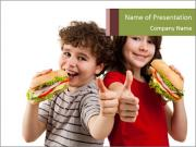 Kids eating healthy sandwiches PowerPoint Templates