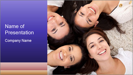 Group of women lying PowerPoint Template