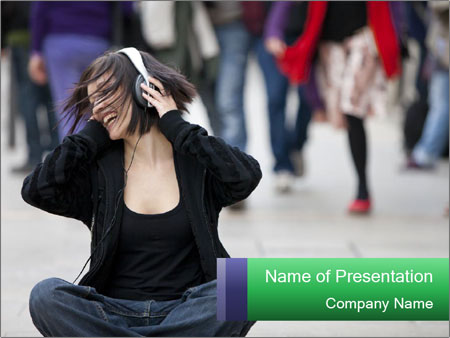 Young beautiful urban girl PowerPoint Template