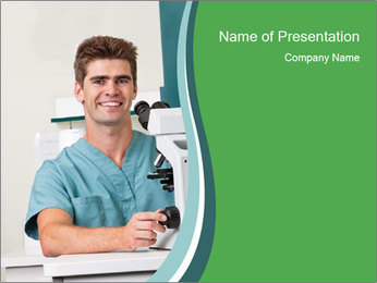 Doctor with microscope PowerPoint Template