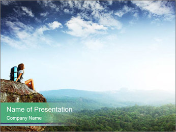 Young woman sitting PowerPoint Template - Slide 1
