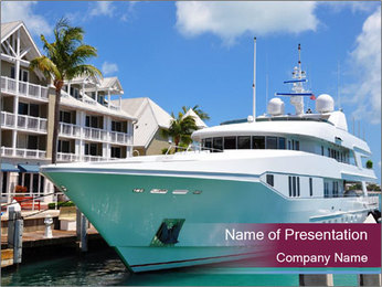Luxury Yacht Docked PowerPoint Template - Slide 1