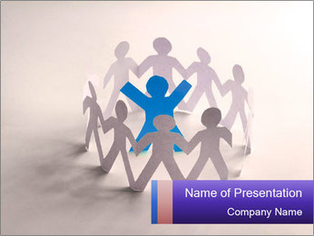 Circle of colorful people PowerPoint Template - Slide 1