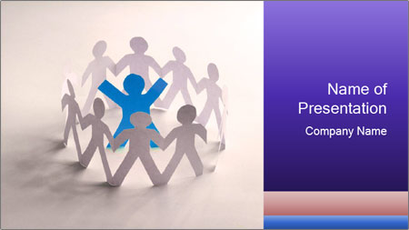 Circle of colorful people PowerPoint Template