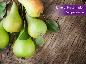 Freshly harvested pears PowerPoint Template - Slide 1