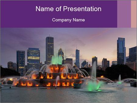 Buckingham Fountain at night PowerPoint Template