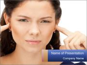 Woman with fingers in ears PowerPoint Template