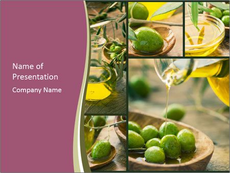Olive harvest collage PowerPoint Template