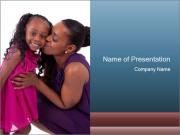 African mother kissing her daughter PowerPoint Template