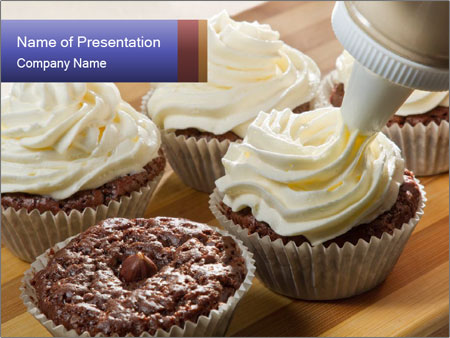 Chocolate muffin with vanilla cream PowerPoint Template