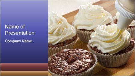 Chocolate muffin with vanilla cream PowerPoint Template