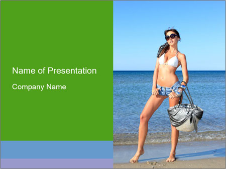 Beautiful model wearing jeans PowerPoint Template