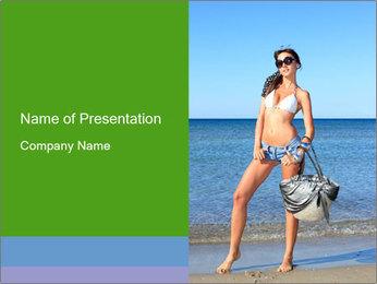 Beautiful model wearing jeans PowerPoint Template