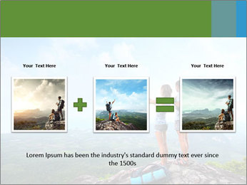 Young tourists from top of a mountain PowerPoint Template - Slide 22