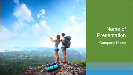 Young tourists from top of a mountain PowerPoint Template