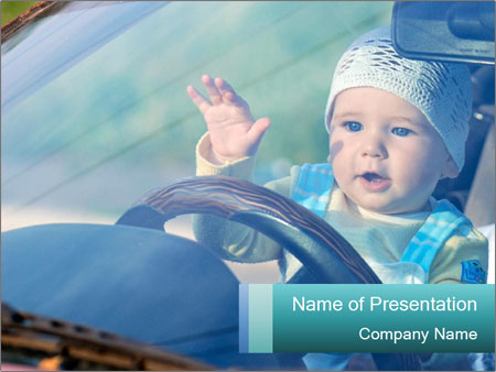 A little baby driving PowerPoint Templates