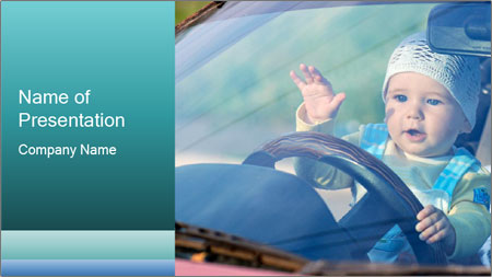 A little baby driving PowerPoint Template