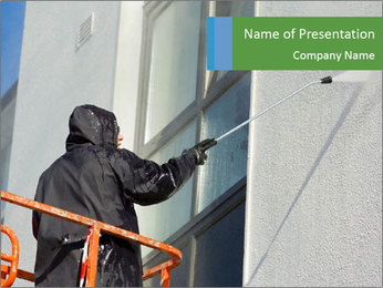 Worker in cherry-picker washing a wall PowerPoint Template