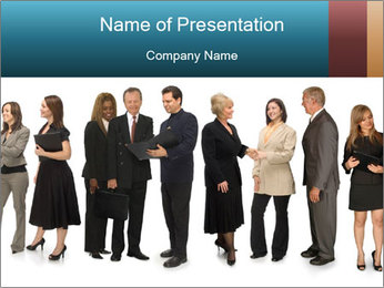 Group of corporate business people PowerPoint Template - Slide 1