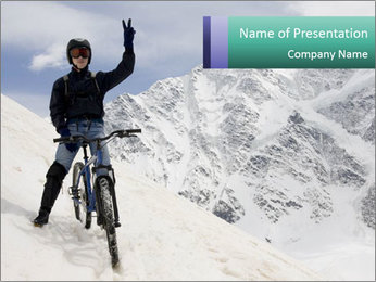 Mountain Biker PowerPoint Template - Slide 1