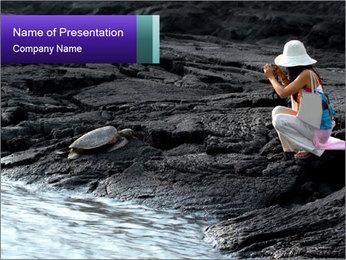 Tourist photographs sleeping sea PowerPoint Template