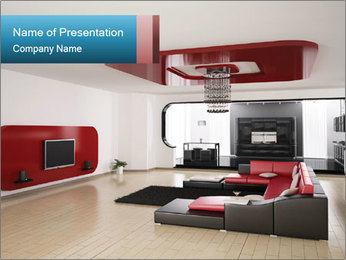 LCD TV In Living Room PowerPoint Template - Slide 1