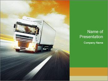 White truck PowerPoint Template - Slide 1