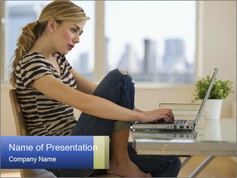 Female working PowerPoint Template - Slide 1