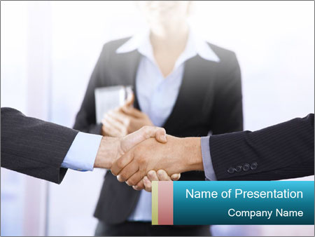 Businessmen shaking hands PowerPoint Template