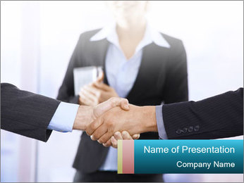 Businessmen shaking hands PowerPoint Template - Slide 1
