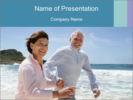 Senior couple running PowerPoint Template