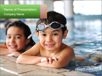Swimming kid PowerPoint Templates - Slide 1