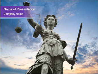 Justice statue PowerPoint Template - Slide 1
