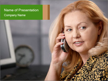 Senior Woman With Mobile Phone PowerPoint Template - Slide 1
