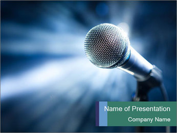 Stage And Microphone PowerPoint Template