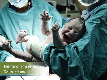 A doctor holding a baby PowerPoint Template - Slide 1