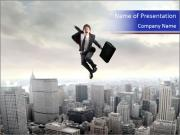 Smiling businessman jumping PowerPoint Templates