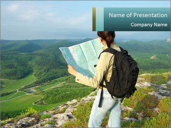Girl tourist PowerPoint Template - Slide 1