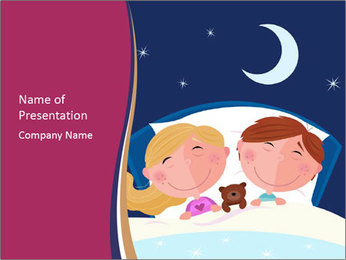Boy and girl sleeping PowerPoint Template