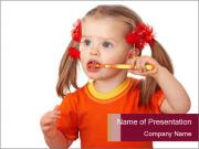 Child clean teeth PowerPoint Templates