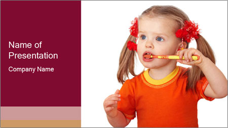 Child clean teeth PowerPoint Template