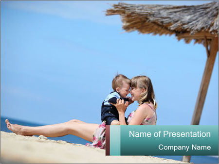 Family resting at beach PowerPoint Template