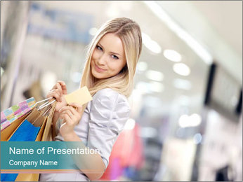 Smiling blonde in shop PowerPoint Templates - Slide 1