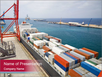 Large container ship PowerPoint Template - Slide 1
