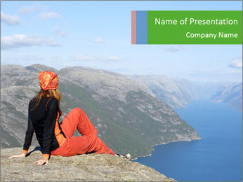 Girl hiker PowerPoint Template